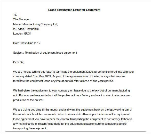 rental termination letter