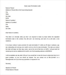 rental termination letter sample early lease termination letter template word download