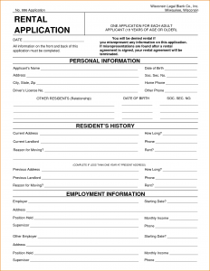 renters application form pdf free printable rental application