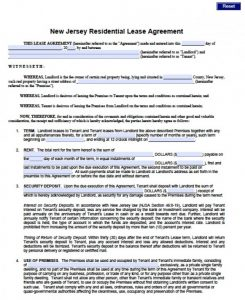 renters application form pdf new jersey standard residential lease agreement x