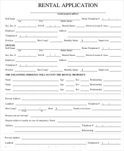 renters application form pdf property rental application form template