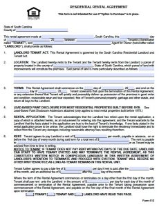 renters application form pdf sc residential lease
