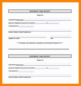 report cover page template dependent care receipt dependent car receipt template