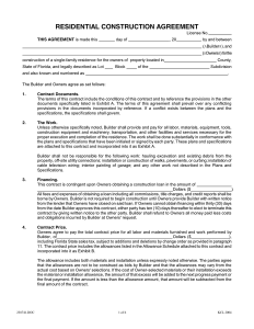 residential construction contract residential construction agreement