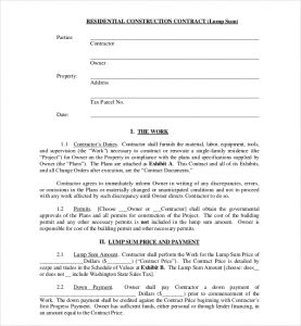 residential construction contract residential construction contract form