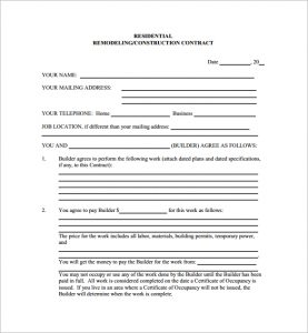 residential construction contract residential remodeling construction contract pdf free download