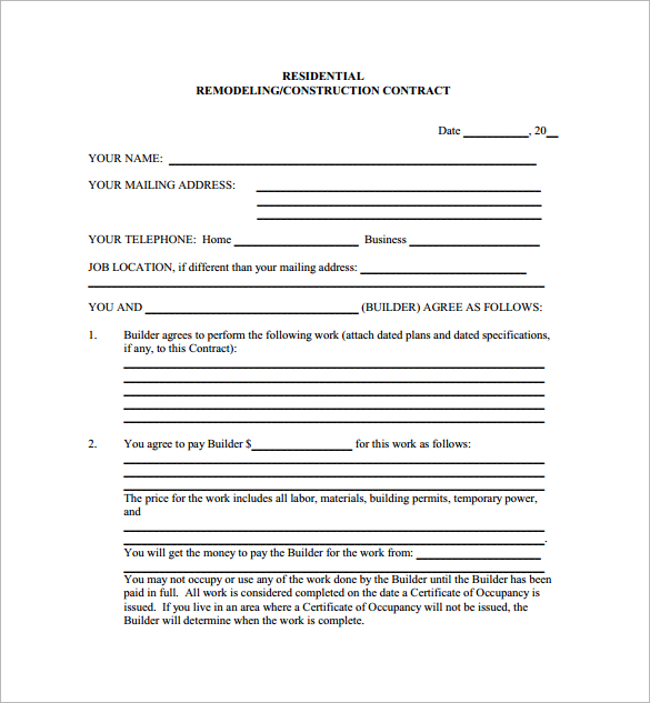 residential construction contract