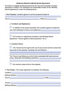 residential lease agreement form oklahoma month to month rental agreement x