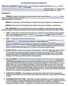 residential lease agreement pdf ohio standard residential lease agreement x