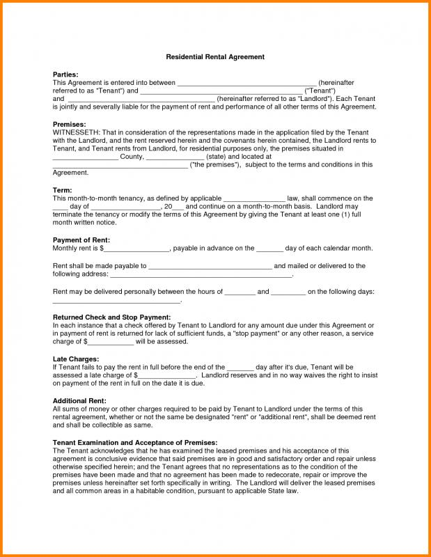 residential rental agreement