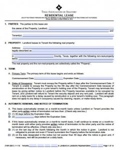 residential rental agreement texas association of realtors residential lease agreement x