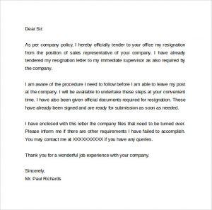 resign letter template resignation letter hr