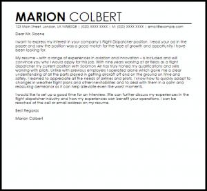 resignation letter email flight dispatcher
