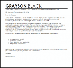 resignation letter email manager trainee