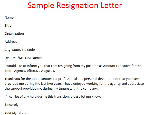 Resignation Letter Format | Template Business