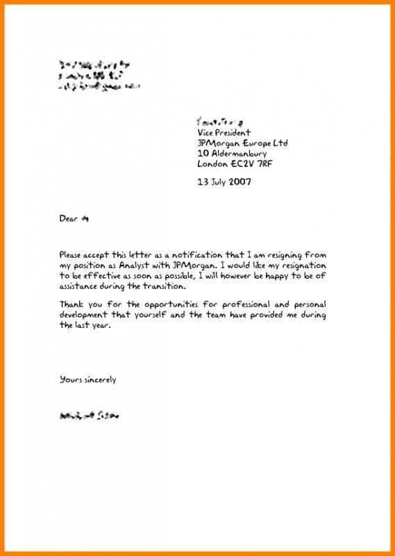 Free Letter Of Resignation Template Uk