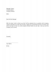 resignation letter template resignation letter template 7