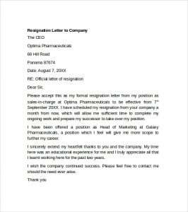 resignation letter template word resignation letter to company