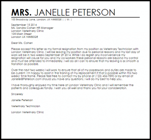 resignation letter templates free resignation letter due to personal reasons