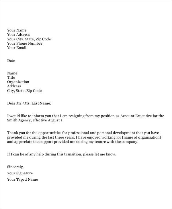 resignation letter templates free