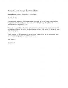 resignation letter templates free sample resignation letter two weeks notice