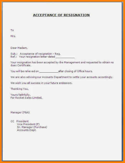 resignation letters examples