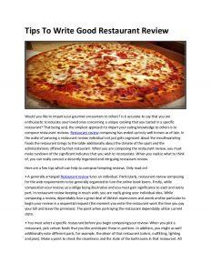 restaurant marketing plan tips to write good restaurant review