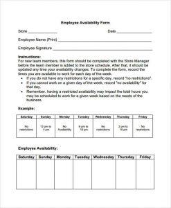 restaurant schedule template employee availability template