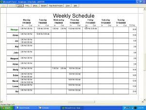restaurant schedule template scheduler