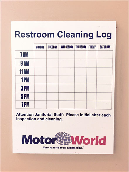 restroom cleaning log