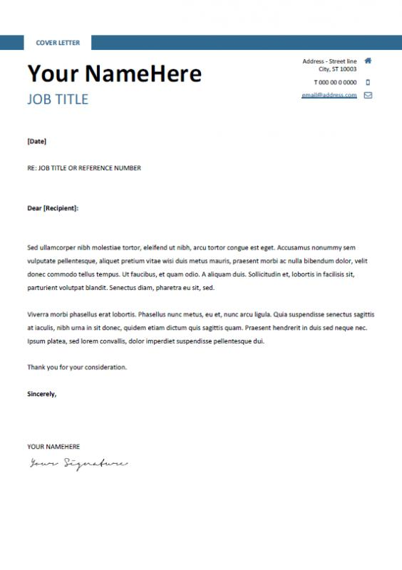 resume cover letter template free