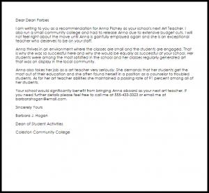 resume for a highschool student art teacher recommendation letter sample artist recommendation letter