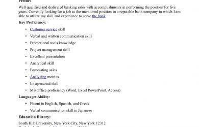 resume for bank teller resume customer service nursery sales