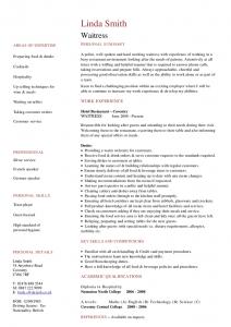 resume for waitress waitress cv
