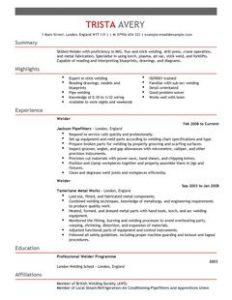 resume for waitress welder construction thumbnail resume