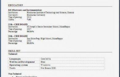 resume format download fresher engineer resume format free download