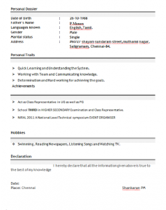 resume format download professional resume format for freshers free download
