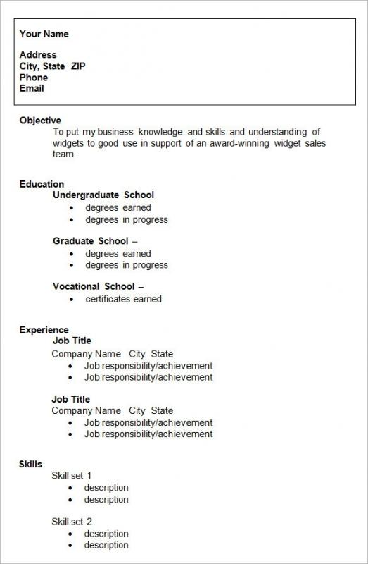 resume high school graduate