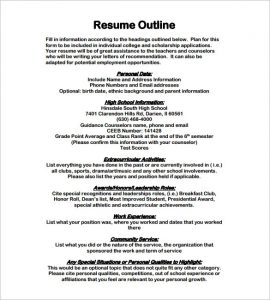 resume outline examples resume outline template free sample example format resume outline