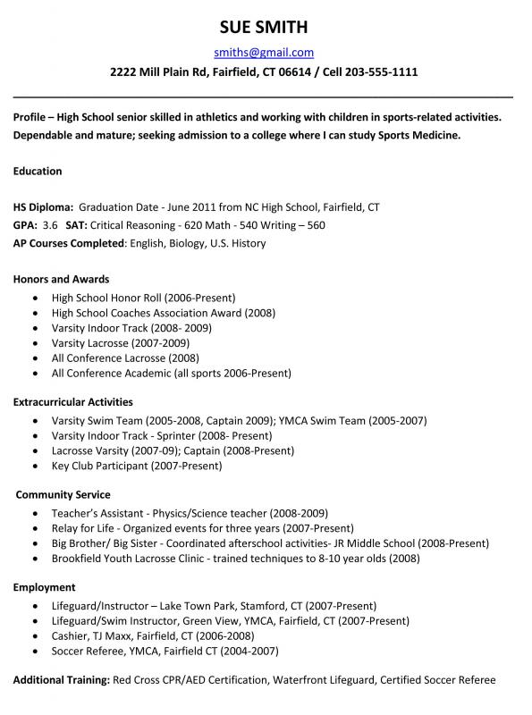 Resume Template For High School Students Template Business