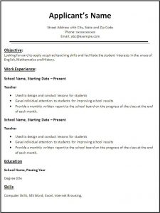 resume templates for teachers teacher resume template