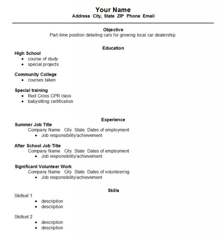 resumes for highschool students