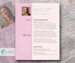 resumes format download free pink cv design