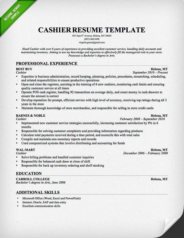 retail resume template