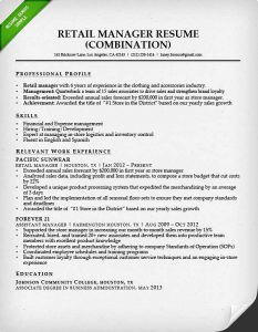 retail resume template retail manager combination resume sample