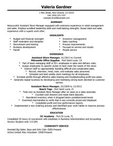retail store manager resumes assistant store manager retail