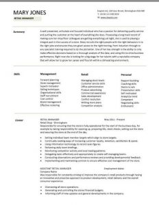 retail store manager resumes pic retail manager cv template example page
