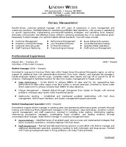 retail store manager resumes retail manager resume objective lindsay weiss