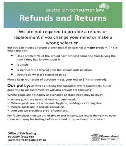 return policy template refund sign