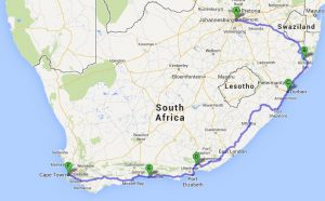 road trip itinerary south africa map